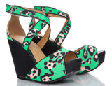 Depeche Leopard Print Wedge High Heels