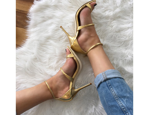 Goldmember Gold Strappy High Heels