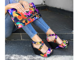 Jazmina Floral Print Wedge High Heels