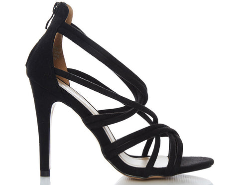 Knight Black Strappy High Heels