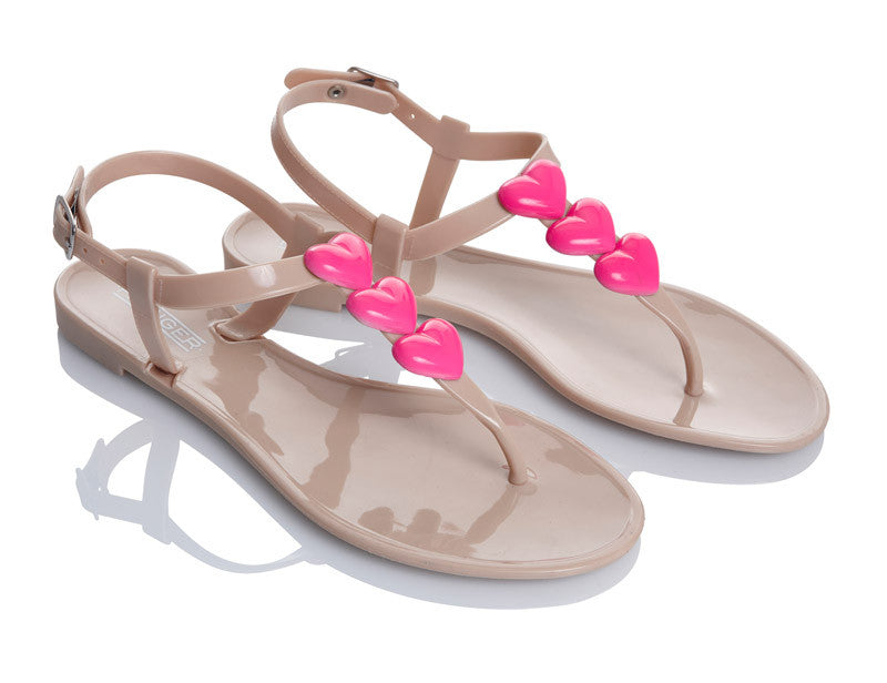 Ladylove Pink Heart Jelly Shoes