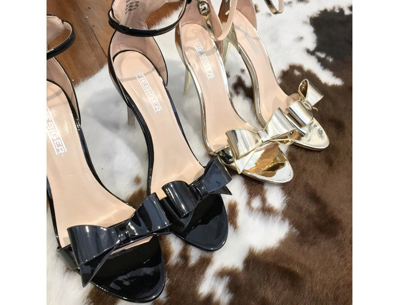 Dress Up Gold Bow High Heels