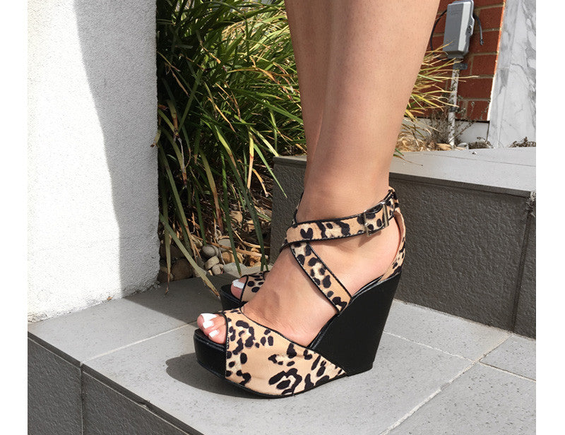Zinali Leopard Print Wedge High Heels