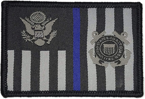 """USCG Subdued Thin Blue Line Ensign"" Embroidered Morale Patch"