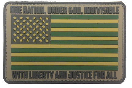 """American Flag - One Nation Under God"" PVC Morale Patch - F-Bomb Morale Gear"