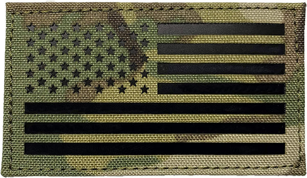 Laser Cut - Infrared IR American Flag in Multicam