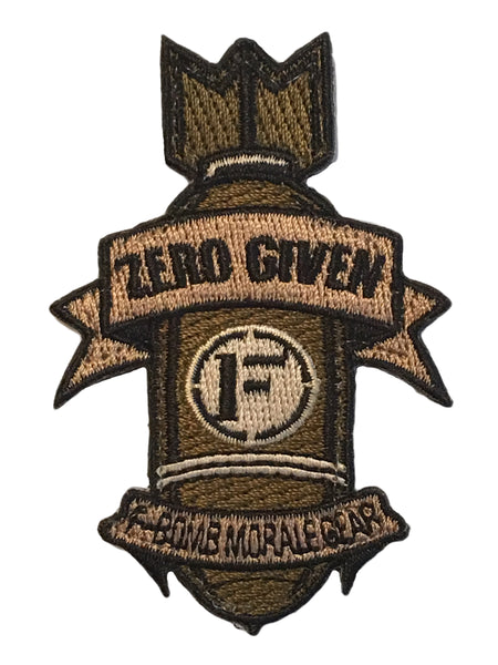 """Zero Given"" Embroidered Morale Patch - F-Bomb Morale Gear"