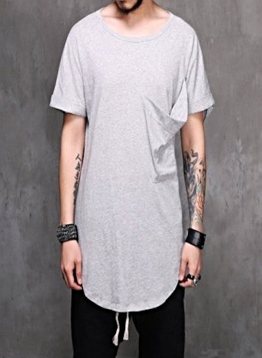 Big Pocket Widneck Extended Drop T-shirt 3 COLORS