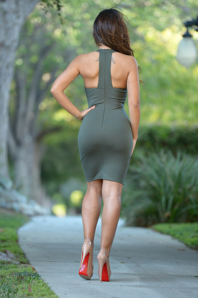 Candice Fitted Olive Dress