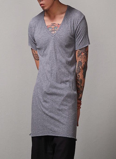 Classic v-neck long T-shirt
