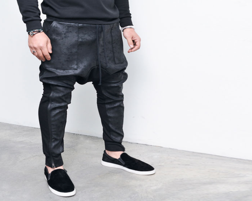 Co-Leather Baggy Sweatpants