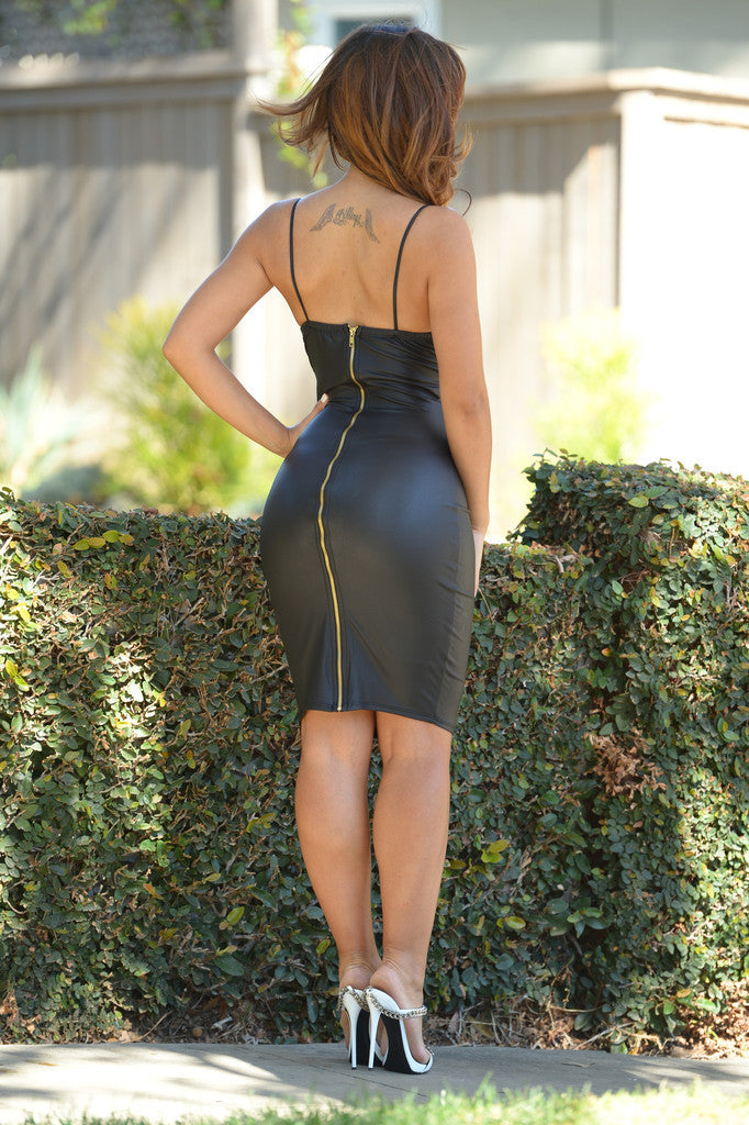 Faux Leather Zipper Dress