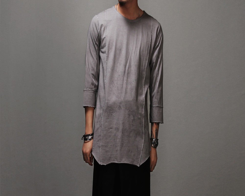 Gray Mi-long Sleeves T-shirt