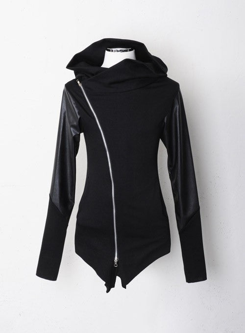 Hooded Leather Zipped