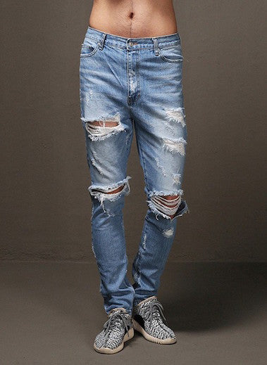 Jeans Destroyed Feets Zipper