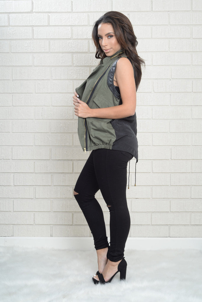 Military Zipper Gold Vest