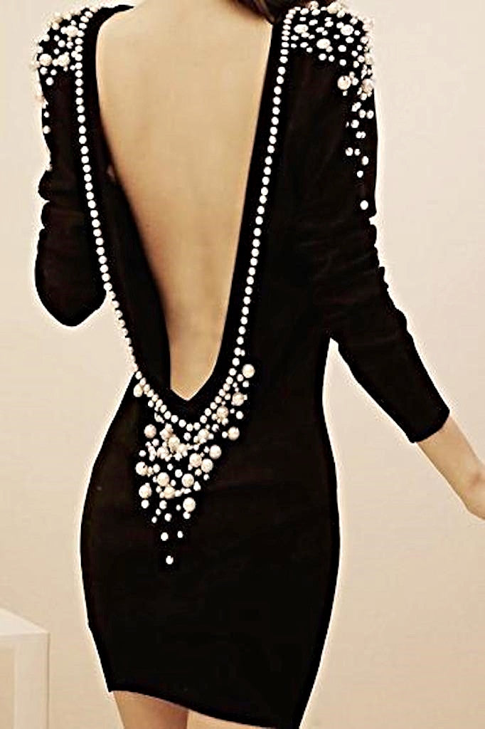 backless pearl dress
