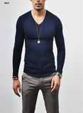 LONG SLEEVE V NECK T-SHIRTS