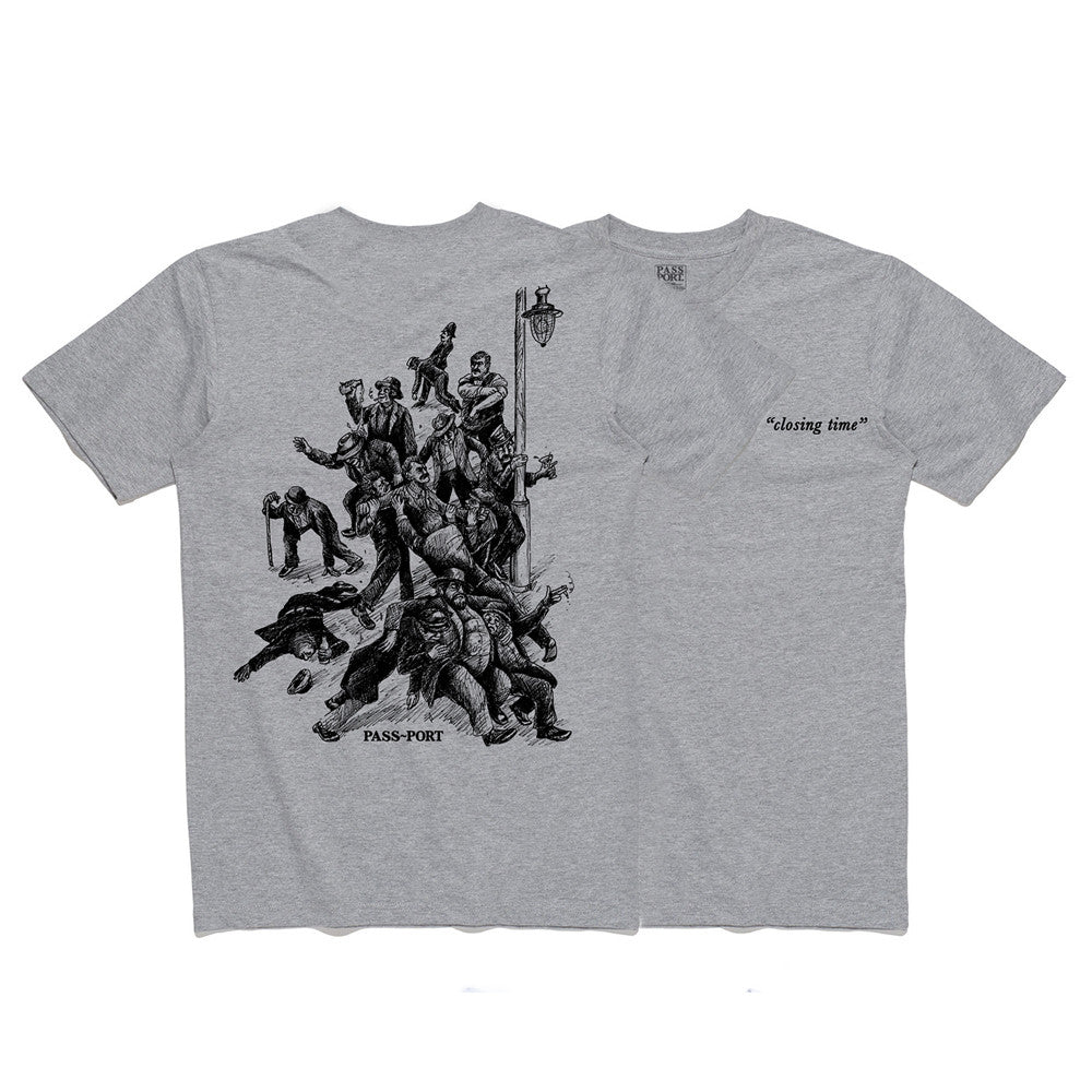 Pass Port Closing Time T-shirt - Heather Grey