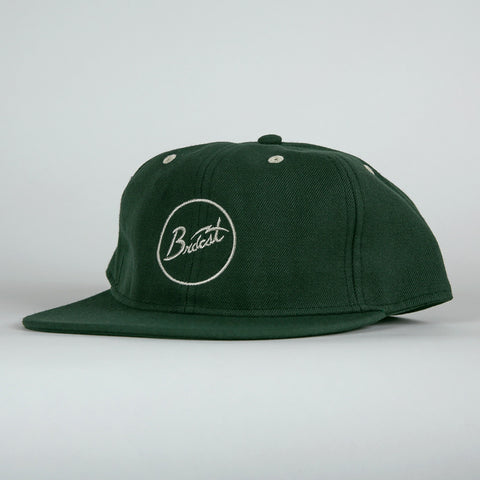 Broadcast Brand Signal Script Unstructured 6 Panel Hat - Forest Green