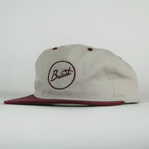 Broadcast Brand Signal Script Unstructured 6 Panel Hat - Stone/Burgundy
