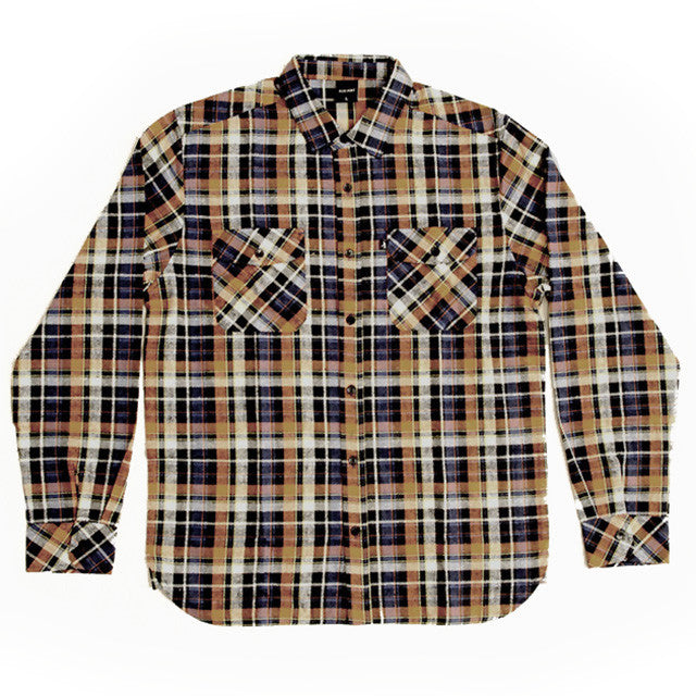 Pass Port Workers Flannel Shirt - Navy/Orange