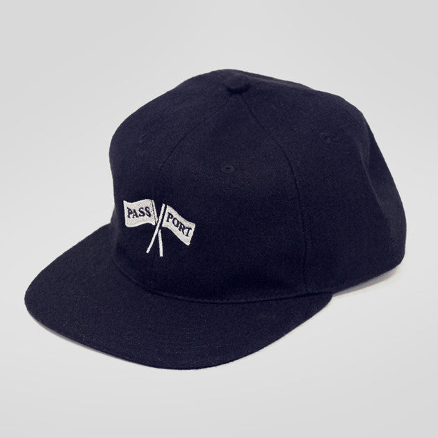 Pass~Port Cross Flags Wool 6 Panel Hat - Navy