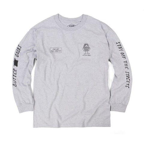 Butter PSA Long Sleeve Tee - Heather Grey