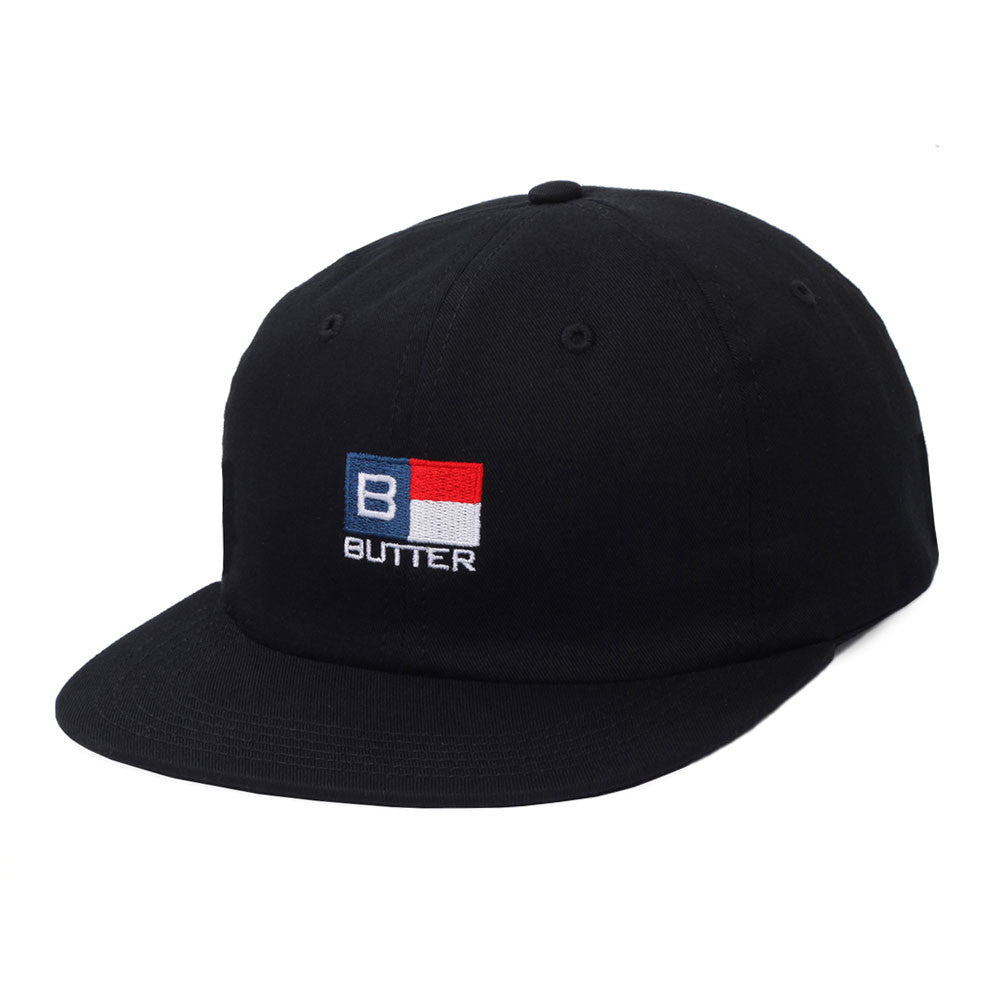 Butter Goods State 6 Panel Polo Cap - Black