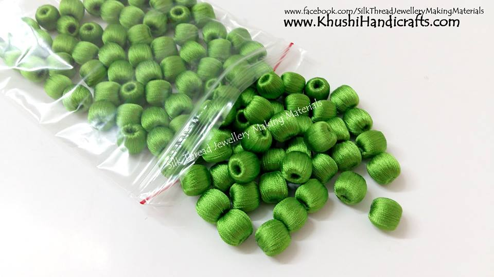 Jewellery Materials - Green Silk Thread Wrapped Beads