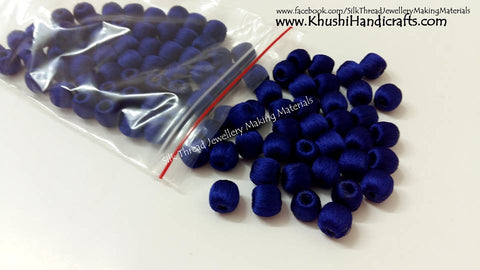 Bulk - 100 Wrapped Wooden 10mm Beads in Royal Blue