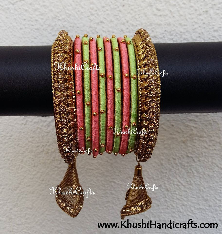 Silk Thread Bangles in Pastel green and Peach shade with Dangler Jhumka - Khushi Handmade Jewellery