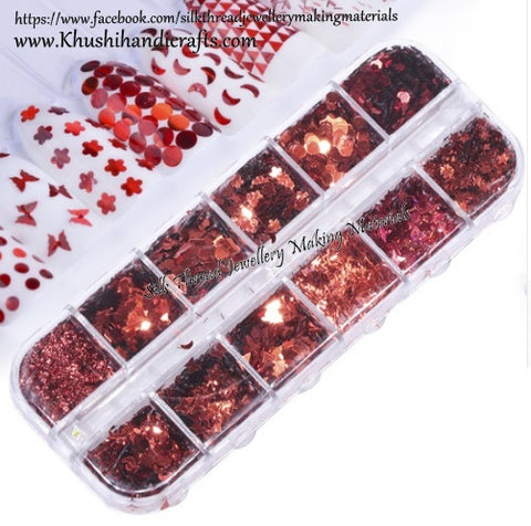 12 Sets Mixed Glitter Red Heart ,Butterfly,Diamond,Star,Fairy dust,Hexagon designs For Resin Crafts ,Jewelry Mold Filling and Nail art.Set3!