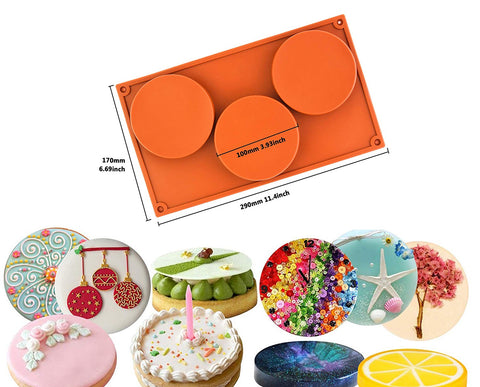 Large Round Disc Candy Silicone Mould 3-Cavity For cake, pie, custard, tart, resin coaster, large candy and soap Making