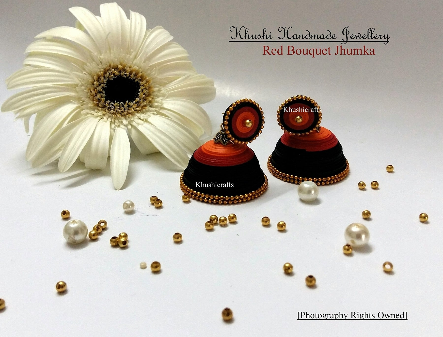 Red Bouquet handmade Quilled Jhumkas