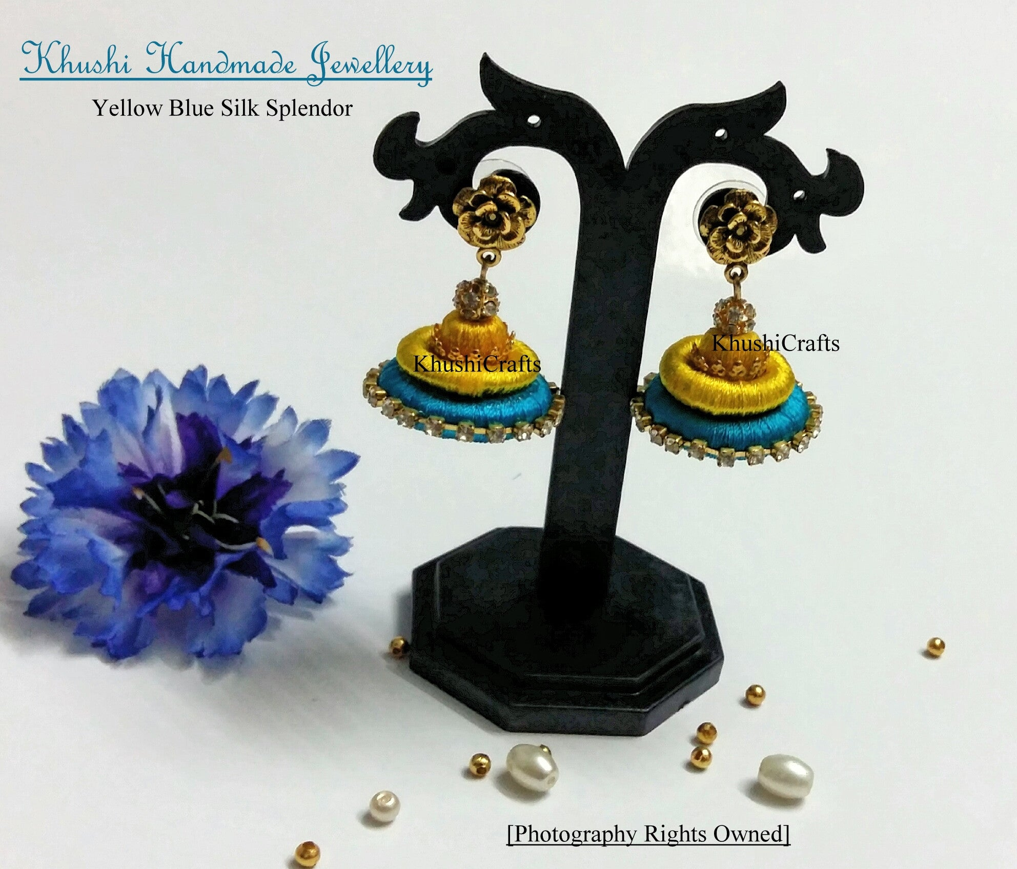 Yellow Blue Silk Splendor - Khushi Handmade Jewellery