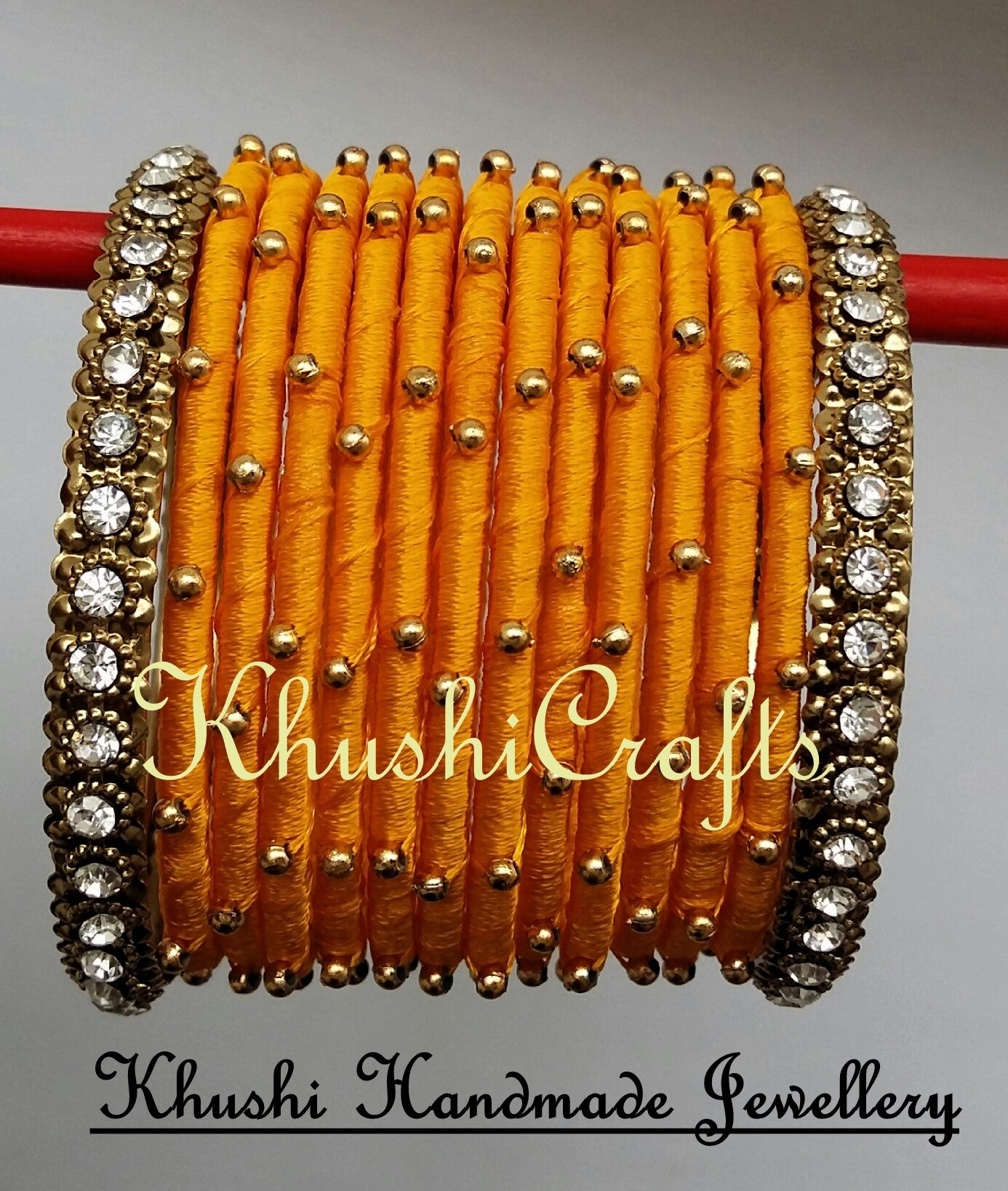 Yellow Silk Bangles - Khushi Handmade Jewellery