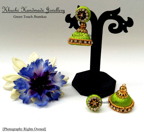 Green Touch Jhumkas