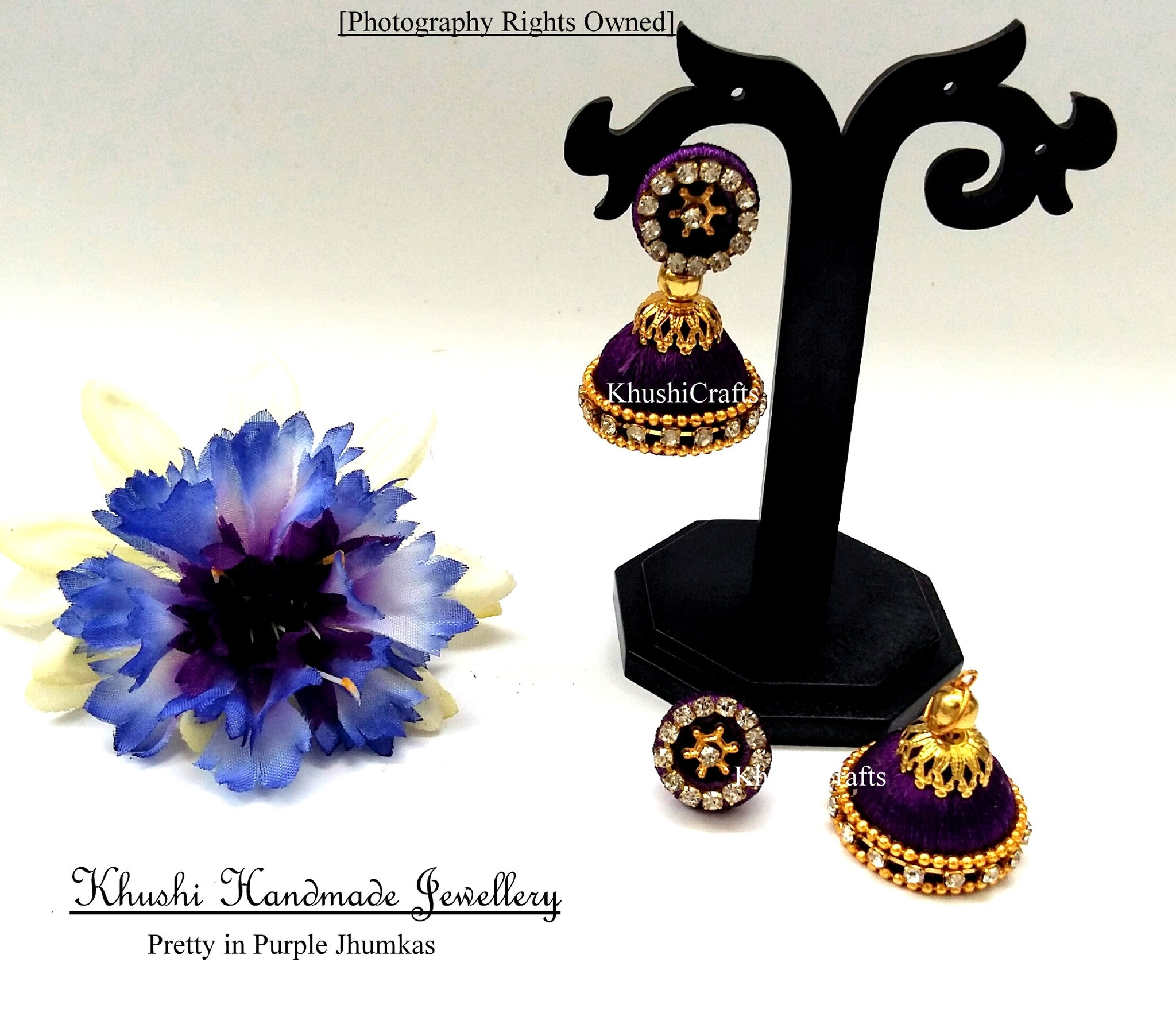 Pretty in Purple Jhumkas - Khushi Handmade Jewellery
