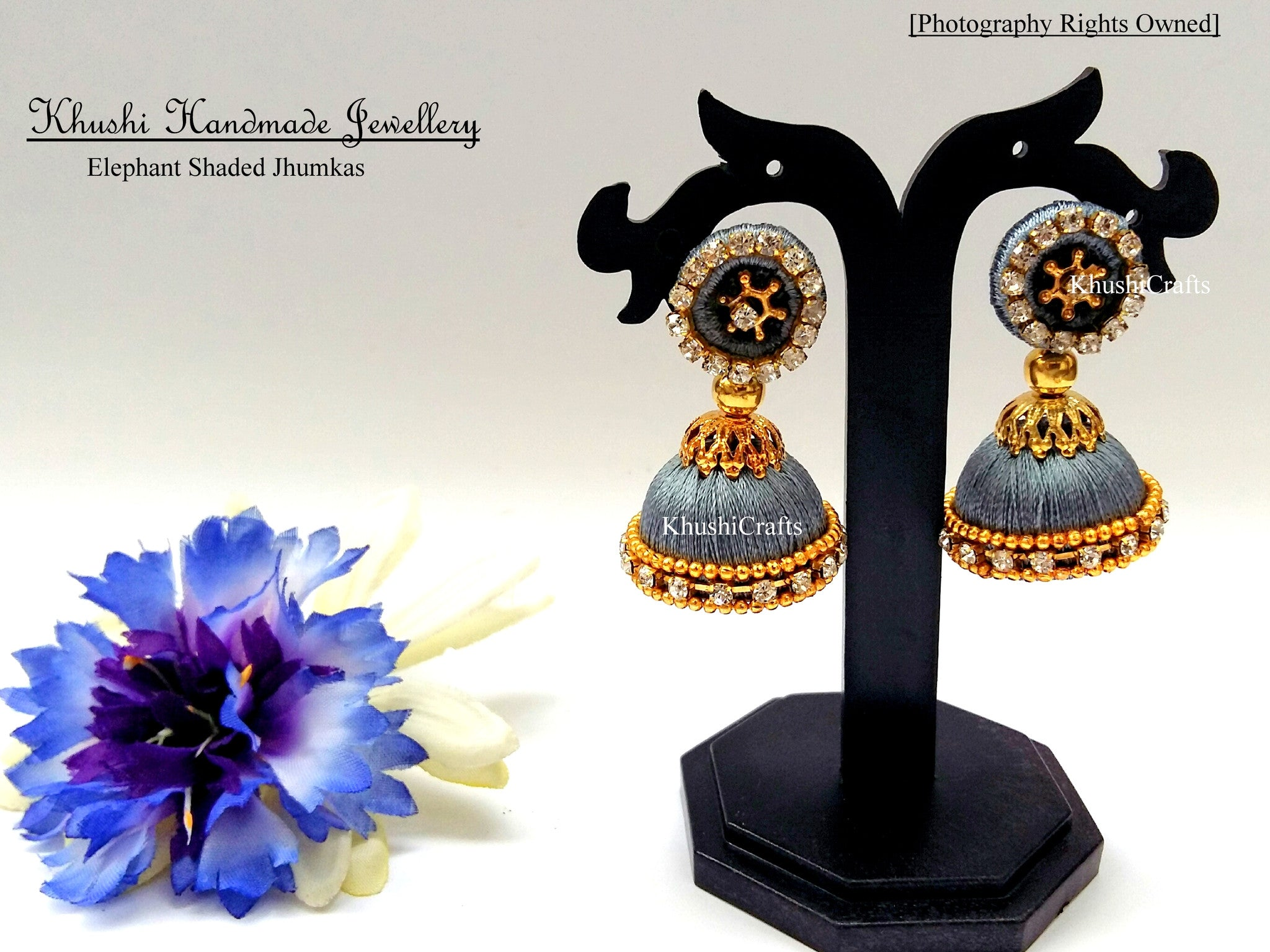Elephant shaded Jhumkas - Khushi Handmade Jewellery