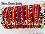 Designer Multi Coloured Silk Bangles - Khushi Handmade Jewellery