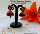 Orange Green Blue Jhumkas - Khushi Handmade Jewellery