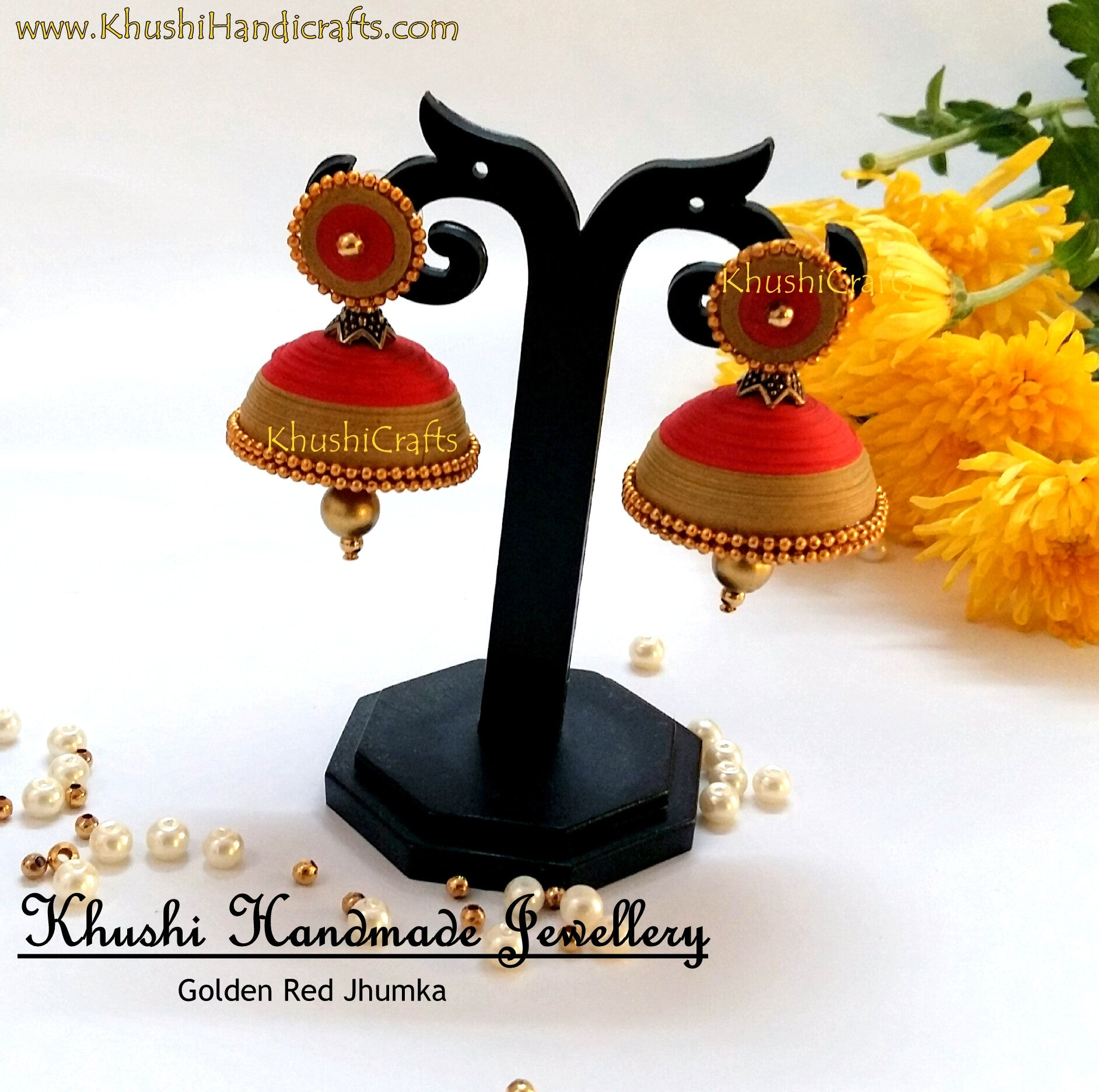 Golden Red Jhumka - Khushi Handmade Jewellery