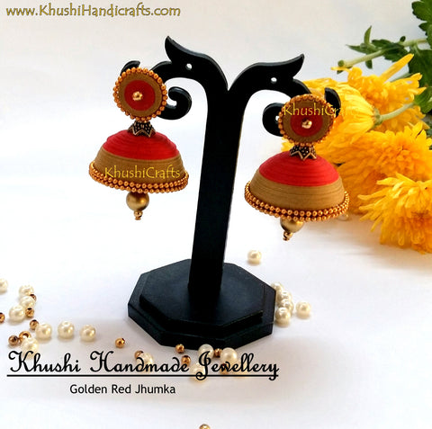 Golden Red Quilled Jhumka