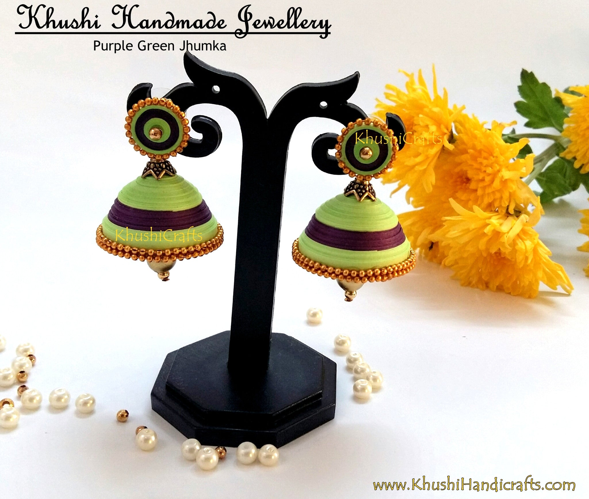 Green N Purple Jhumka - Khushi Handmade Jewellery