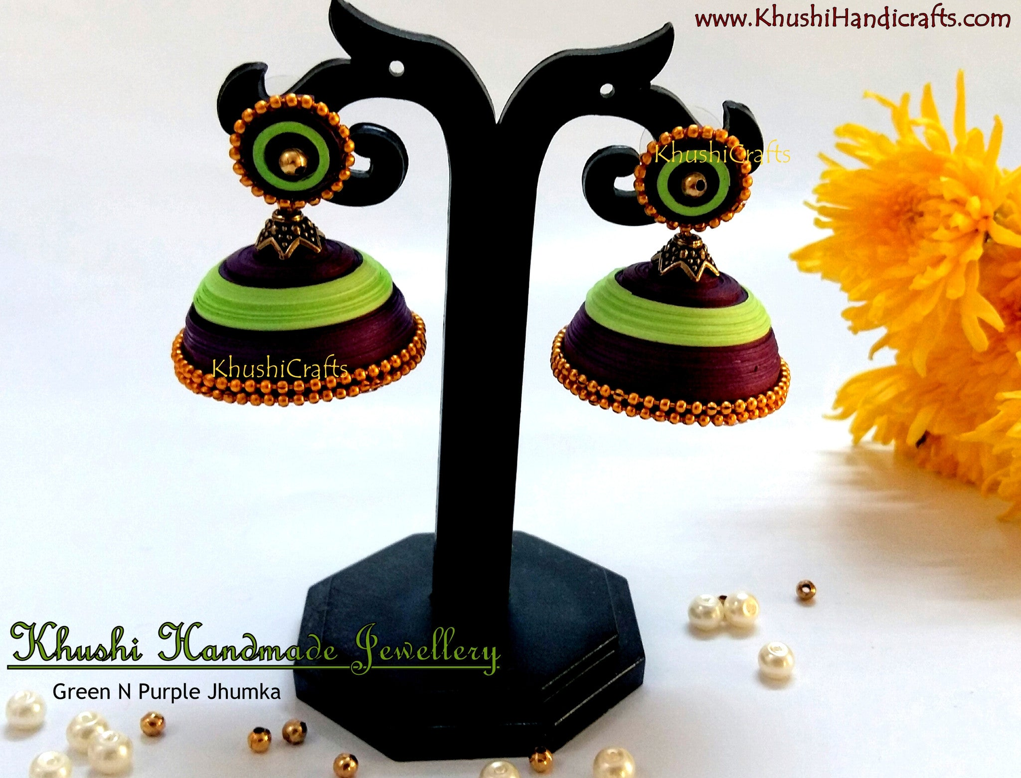 Purple Green Jhumka - Khushi Handmade Jewellery