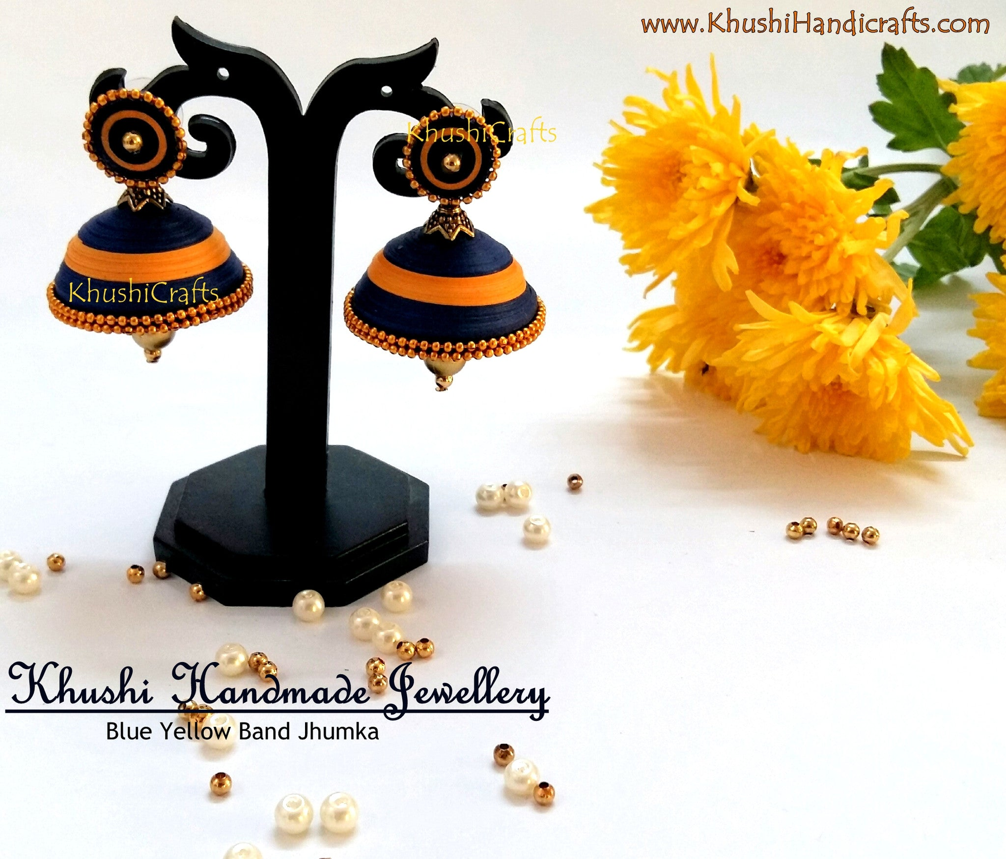 Blue Yellow Band Jhumka - Khushi Handmade Jewellery