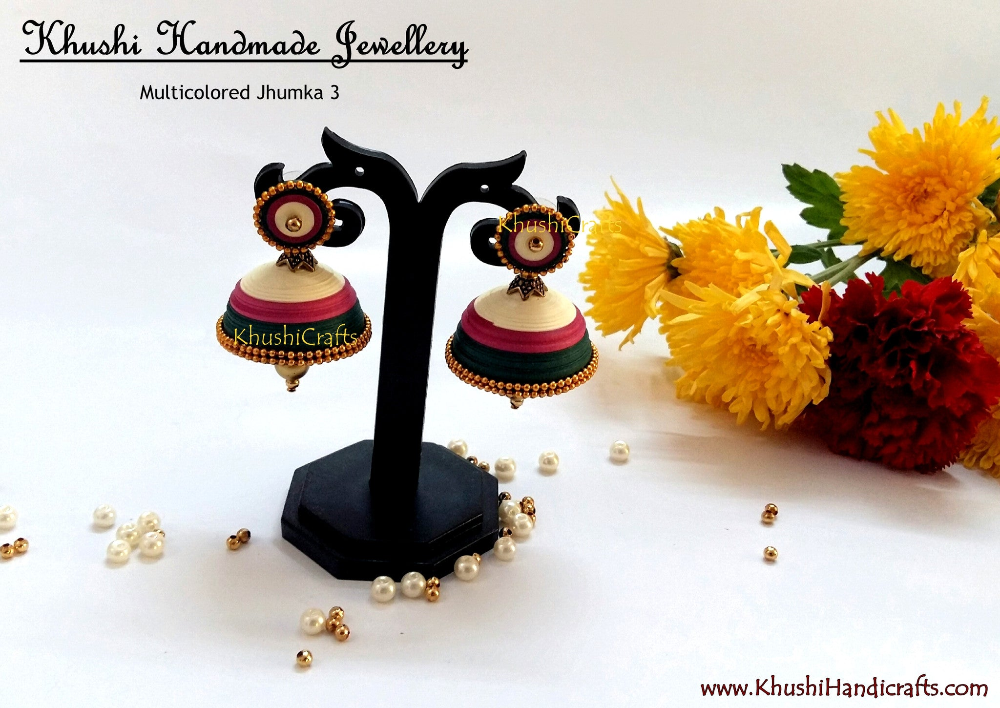 Multicolored Jhumka 3 - Khushi Handmade Jewellery