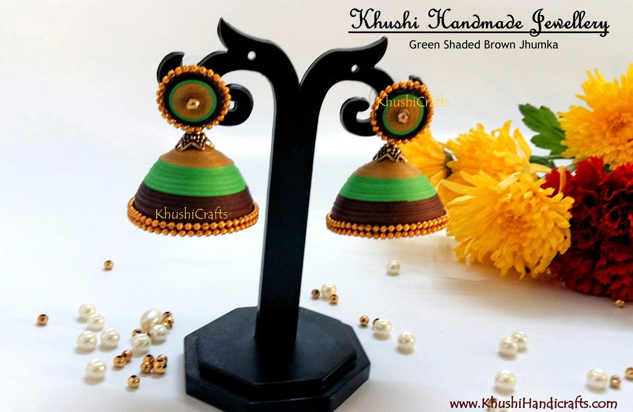 Green Shaded Brown Jhumka - Khushi Handmade Jewellery