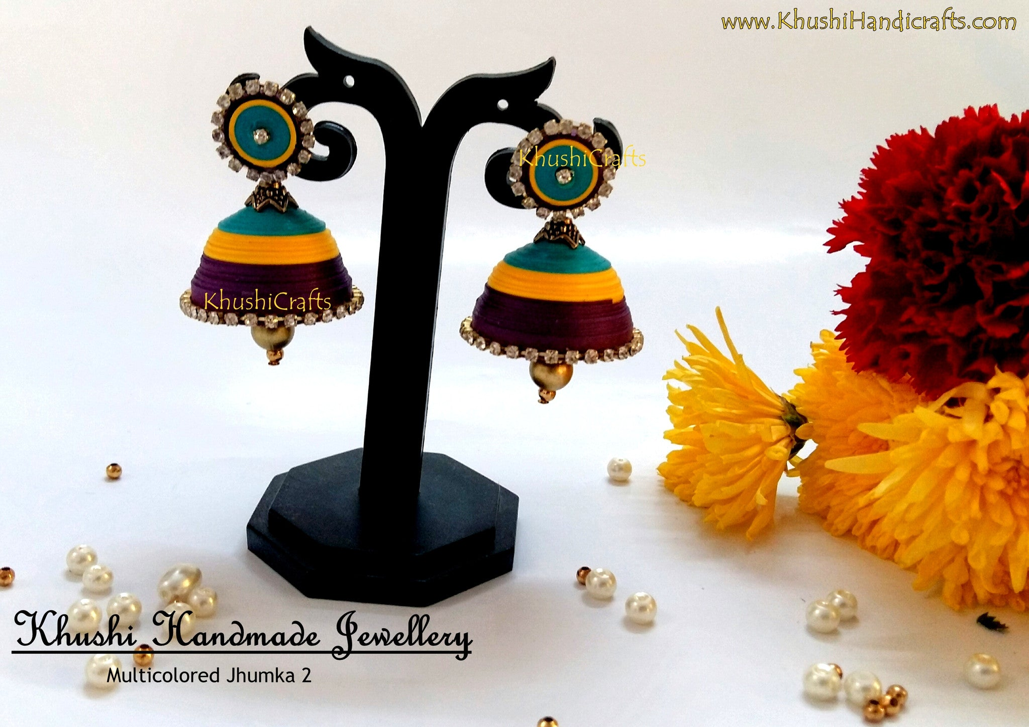Multicolored Jhumka 2 - Khushi Handmade Jewellery